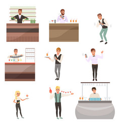 set of young bartenders standing at the bar vector image