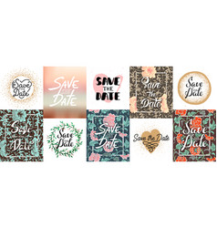 set save date lettering posters greeting vector image