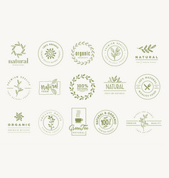 set signs for organic and natural products vector image