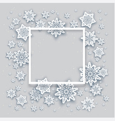 Snowflakes christmas frame vector