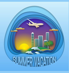summer vacation logo template sunset with resort vector image