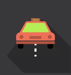 Taxi car top view icon taxicab sedan with checker vector