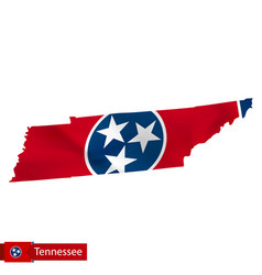 Tennessee state map with waving flag us state vector