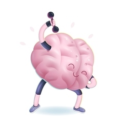 Train your brain dumbbells exercises vector