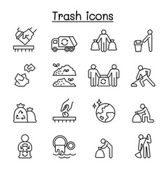 Trash garbage rubbish dump refuse icon set in vector