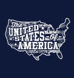 typography map - united states america vector image