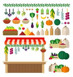 village food market icons flat vector image