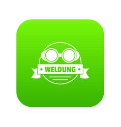 weldung icon green vector image