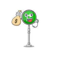 With money bag turn right isolated in mascot vector