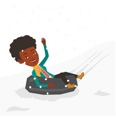 Woman sledding on snow rubber tube in mountains vector