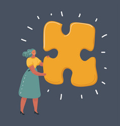 Woman with big jigsaw puzzle vector