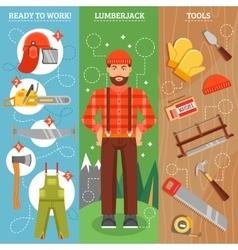 Work Of Lumberjack Vertical Banners Set vector image