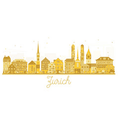 Zurich switzerland city skyline golden silhouette vector
