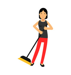 beautiful young brunette woman housewife sweeping vector image