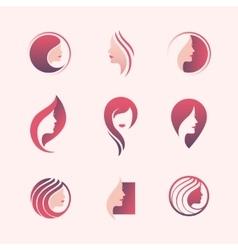Beauty salon logo set vector image vector image