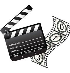 Clapboard with film vector