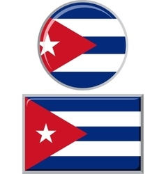 Cuban round and square icon flag vector