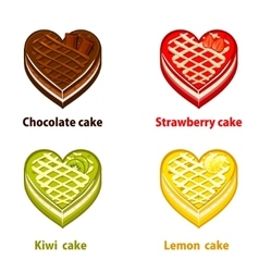 Fruit cupcakes collection valentines day vector image vector image