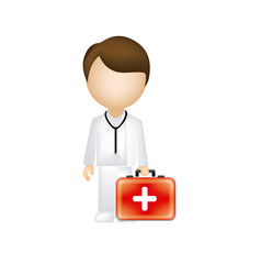 man doctor with suitcase icon vector image