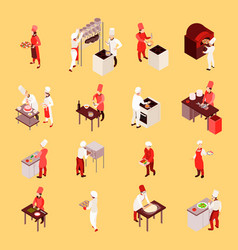 professional cooking isometric icons vector image