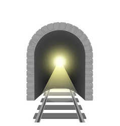 realistic detailed 3d railroad tunnel vector image vector image