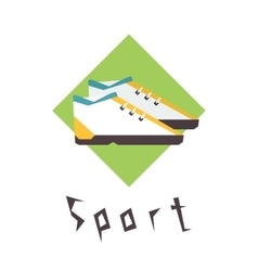 Running shoes sport fitness logo vector image