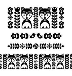 scandinavian folk art pattern - black long stripe vector image vector image
