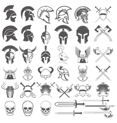 Set of ancient weapon helmets swords and design vector