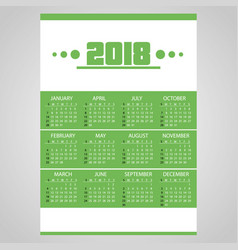 2018 simple business wall calendar green and vector image vector image