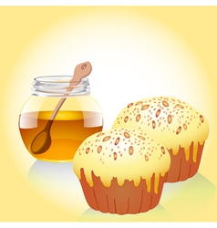 a jar of honey and two of the cake with nuts vector image vector image