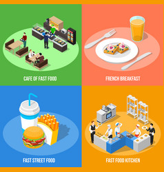 fast food 2x2 isometric design concept vector image