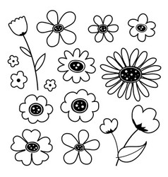 flower cute black icon vector image vector image