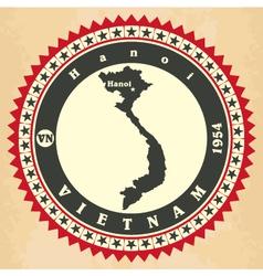 Vintage label-sticker cards of Vietnam vector image