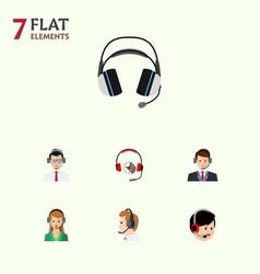 flat hotline set of operator secretary help and vector image vector image