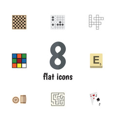 flat icon play set of guess gomoku labyrinth and vector image vector image