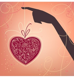 hand and heart valentines day card vector image