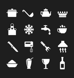 Set icons of cooking and kitchen vector image