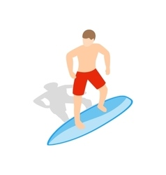 Surfer man on surfboard icon isometric 3d style vector image