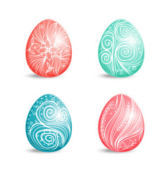 beautiful set of colored easter eggs with ornament vector image vector image