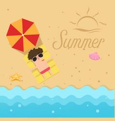 hello summerman sleep on the beach vector image
