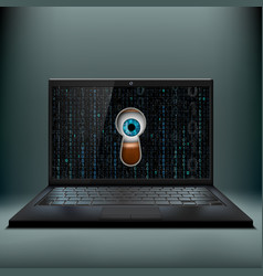 human eye in the keyhole and a laptop cybercrime vector image