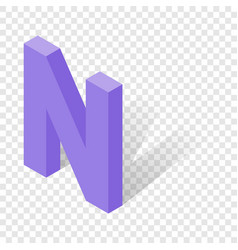n letter in isometric 3d style with shadow vector image