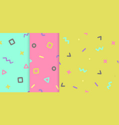 set of three backgrounds with symbols vector image vector image