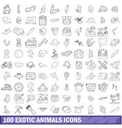 100 exotic animals icons set outline style vector