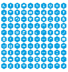 100 sun icons set blue vector