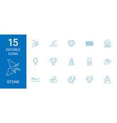 15 stone icons vector image