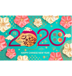 2020 chinese new year card with gold rat vector image