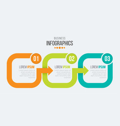 3 steps timeline infographic template with arrows vector image