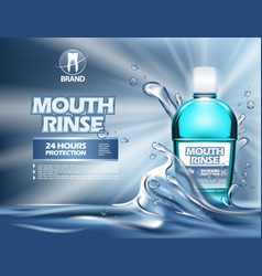 3d mouthwash bottle or realistic 3d container vector
