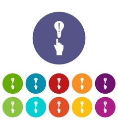 A finger pointer and light bulb set icons vector image
